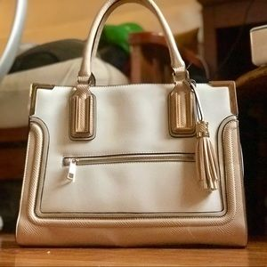 Awesome White and Tan ALDO Leather Handbag.